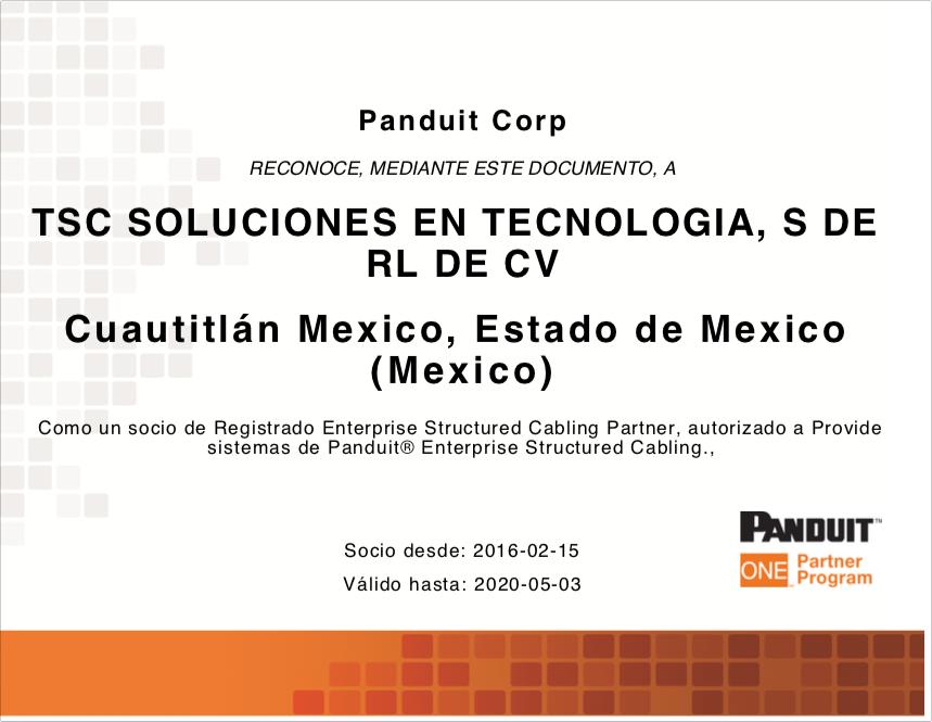Certificación Panduit TSC